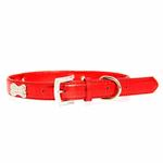 View Image 2 of Metallic Crystal Bone Dog Collar - Red