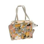 View Image 1 of Metro Slant Pocket Dog Tote - Pink/Yellow Floral