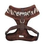 View Image 2 of Modern Zebra Dog Harness by Puppia - Brown