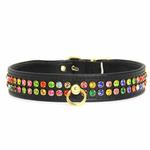 View Image 1 of Multi-Colored Crystal Dog Collar - Black