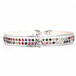 Multi-Colored Crystal Dog Collar - Silver