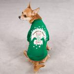 View Image 1 of Naughty or Nice Christmas Dog T-Shirt - Green