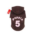 View Image 1 of Number 5 Dog Hoodie by Puppia - Brown