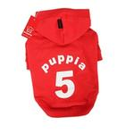View Image 1 of Number 5 Dog Hoodie by Puppia - Red