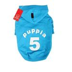 View Image 1 of Number 5 Dog Hoodie by Puppia - Sky Blue