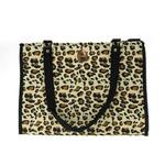 View Image 1 of NY Dog Leopard Print Zippered Pet Tote - Black Trim