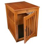 View Image 1 of Oak End Table Dog Crate - Burnished Oak