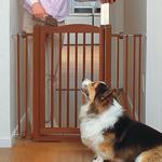 View Image 1 of One-Touch Wood Pet Gate - Autumn Matte