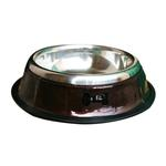 View Image 1 of Patent Leather & Stainless Steel Dog Bowl - Brown