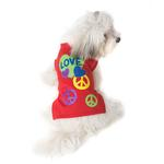 View Image 1 of Peace & Love Dog T-Shirt - Red