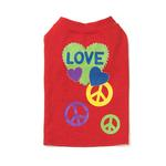 View Image 2 of Peace & Love Dog T-Shirt - Red