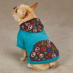 Peace Out Pullover Dog Hoodie - Bluebird