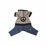View Image 1 of Peace Sign Denim Dog Jumpsuit