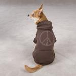 View Image 1 of Peace Sign Dog Hoodie - Brown