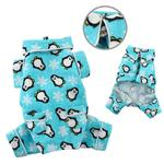 View Image 2 of Penguins and Snowflakes Flannel Dog Pajamas by Klippo - Turquoise