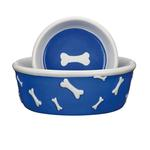 View Image 1 of Pet Studio Blue Ribbon Bone Dog Dishes - Blue