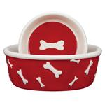 View Image 1 of Pet Studio Blue Ribbon Bone Dog Dishes - Red