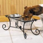 View Image 1 of Pet Studio Wrought Iron Raised Dog Diner with 2 Dog Bowls