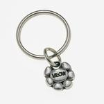 View Image 1 of Pewter Pet Lover Keychain - Meow Flower