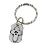 View Image 1 of Pewter Pet Lover Keychain - Paw Cross