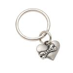 View Image 1 of Pewter Pet Lover Keychain - Rescue Heart & Bone