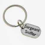 View Image 1 of Pewter Pet Lover Keychain - Sargeant Sniffer