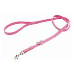 Hearts Leather Dog Leash - Pink