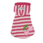 View Image 1 of Pink Stripe Cherry Hooded Shirt by Hip Doggie