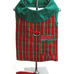 View Image 1 of Plaid Christmas Holiday Harness Vest and Leash Set - Red & Green