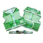 Plaid Cool Mesh Dog Harness by Doggie Design - Green