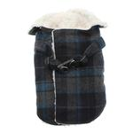 View Image 1 of Plaid Fleece Lined Dog Wrap Coat - Blue