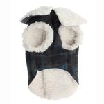 View Image 4 of Plaid Fleece Lined Dog Wrap Coat - Blue