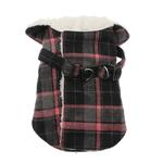 View Image 1 of Plaid Fleece Lined Dog Wrap Coat - Pink
