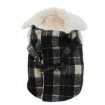 View Image 1 of Plaid Fleece Lined Dog Wrap Coat - Green