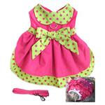 View Image 2 of Polka Dot Dog Dress Set with Panties and Leash - Hot Pink and Lime