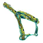 View Image 3 of Polkastripe Dot Ribbon Dog Harness - Aqua Brown