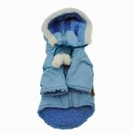 View Image 2 of Pom Pom Dog Parka - Blue