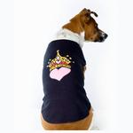 View Image 1 of Princess Crown Heart Dog Tank Top - Black