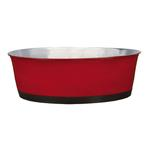 View Image 1 of ProSelect Colored Stainless Steel Bowl with Rubber Base - Red
