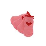Red Hearts Soxy Paws Dog Socks - Pink