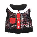 View Image 1 of Red Tweed Pocket Minky Plush Dog Harness and Leash