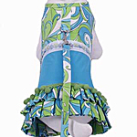 View Image 1 of Retro Print Day Dress w/ Leash - Blue