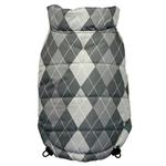 View Image 1 of Reversible Puffer Dog Vest by Hip Doggie - Silver Argyle
