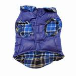 View Image 3 of Reversible Puffy Dog Vest - Blue Plaid