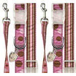 View Image 1 of Ribbon Pink & Brown Polka Dot Dog Collar