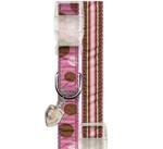 View Image 1 of Ribbon Pink & Brown Stripe Dog Collar