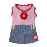 View Image 1 of Riley Denim Dress for Dogs - Pink