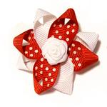 View Image 1 of Rosette and Dots Dog Bow - Red and White