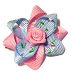 View Image 1 of Rosette and Flowered Ribbon Dog Bow - Pink and Blue