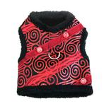 View Image 1 of Ruby Red Brocade Minky Plush Dog Harness with Leash